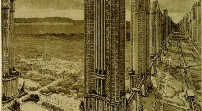 Utopie, des grattes-ciel dans la Plaine.